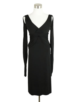 Zac Posen Black Polyester Longsleeve Dress 1