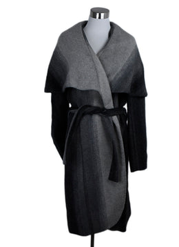 Zac Posen Grey Charcoal Polyester W/Belt Coat Outerwear 1