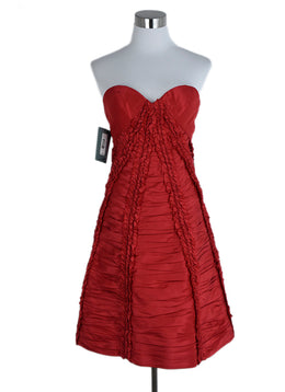 Zac Posen Red Silk Ruched Evening Dress 1