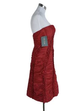 Zac Posen Red Silk Ruched Evening Dress 2