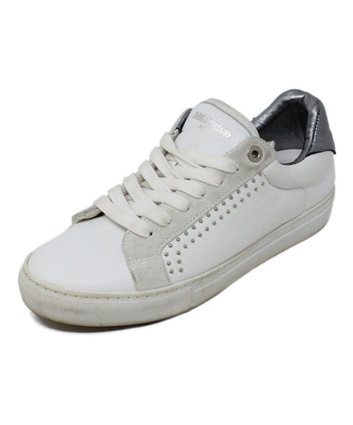 Zadig & Voltaire White Leather Pewter Sneaker