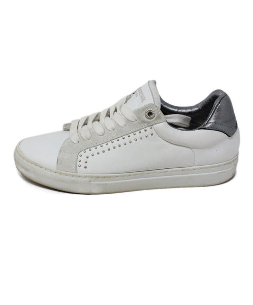 Zadig & Voltaire White Leather Pewter Sneaker 1
