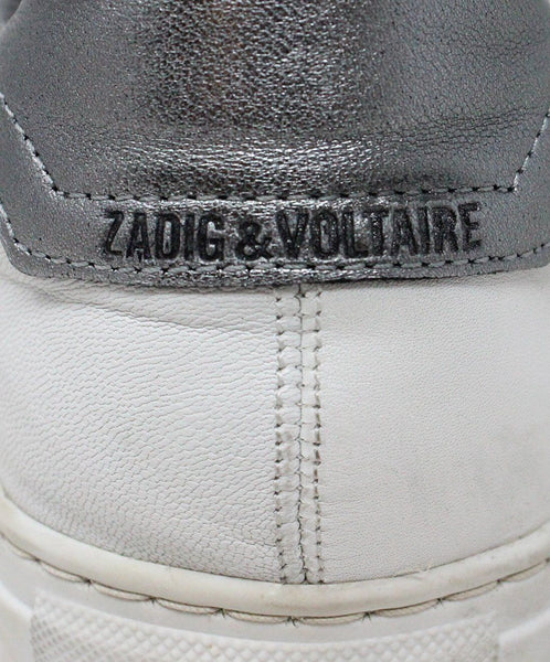 Zadig & Voltaire White Leather Pewter Sneaker 6
