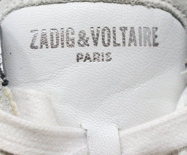 Zadig & Voltaire White Leather Pewter Sneaker 7