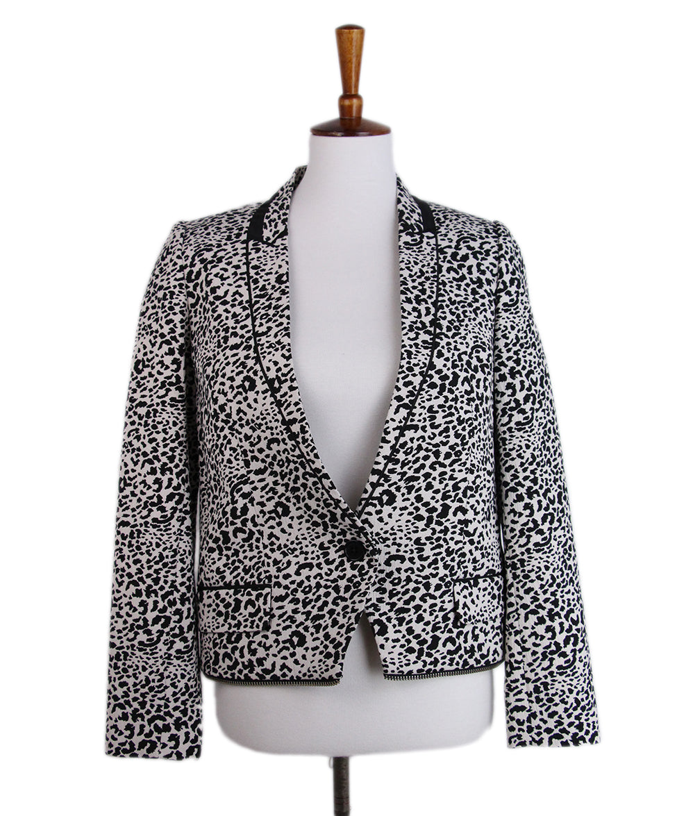 Zadig & Voltaire Black White Animal Print Jacket 1