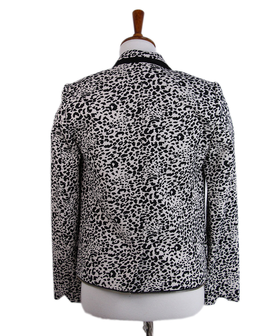Zadig & Voltaire Black White Animal Print Jacket 3