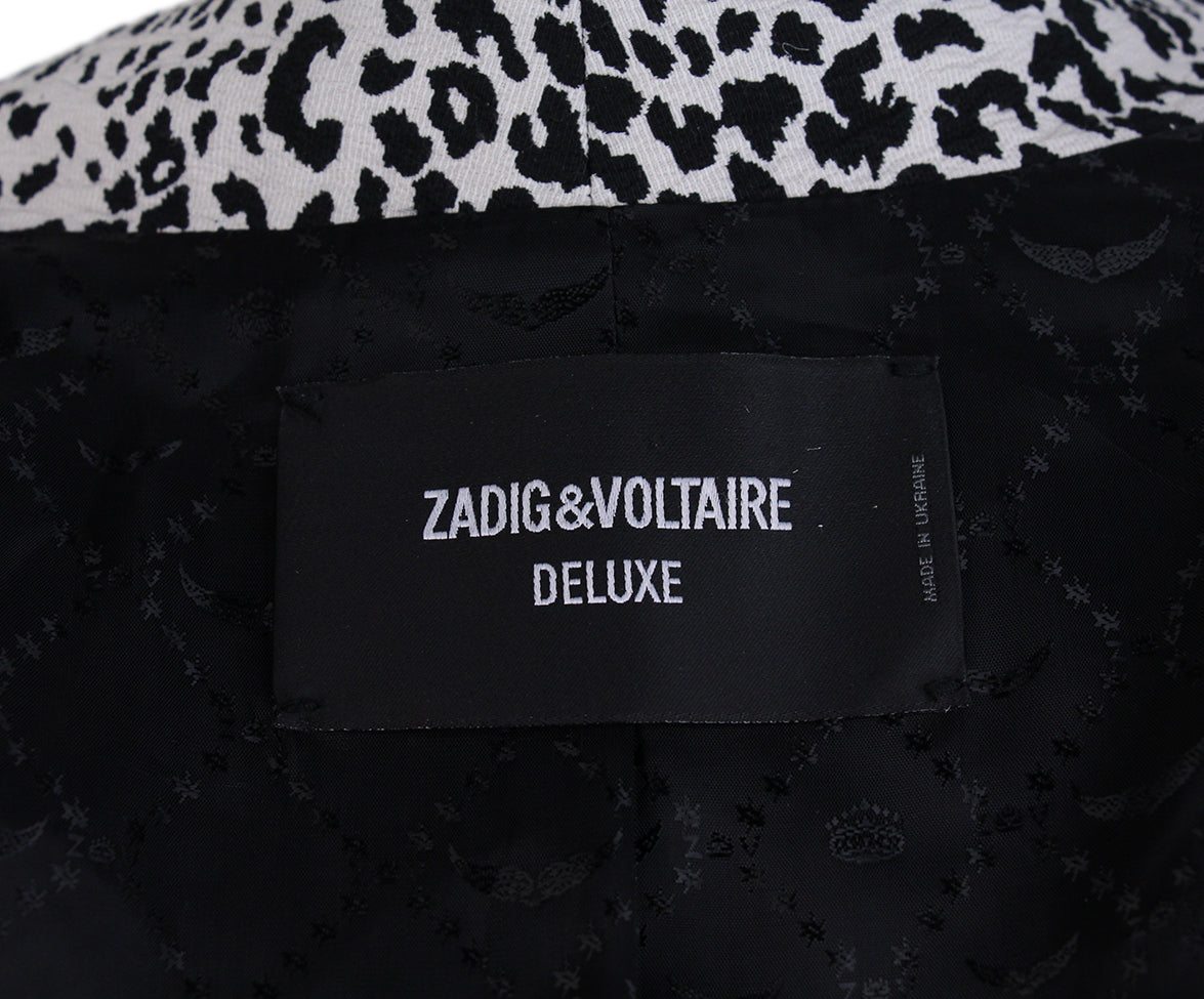 Zadig & Voltaire Black White Animal Print Jacket 4