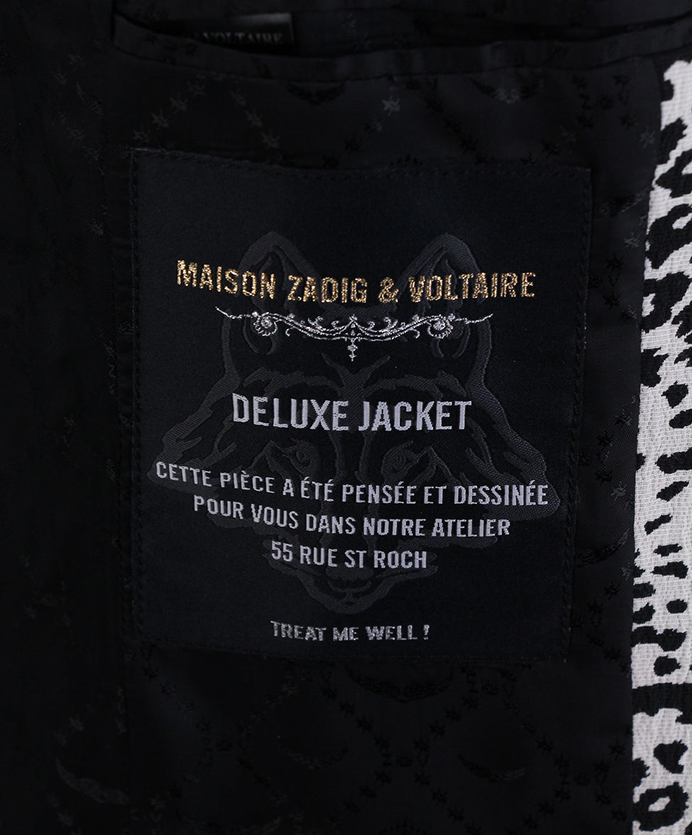 Zadig & Voltaire Black White Animal Print Jacket 5