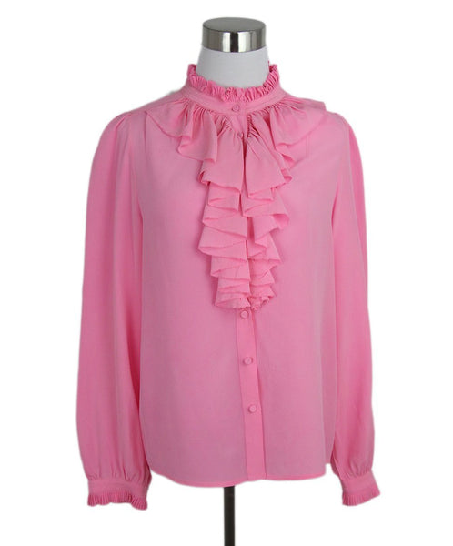 Zadig & Voltaire pink ruffle trim silk blouse 1