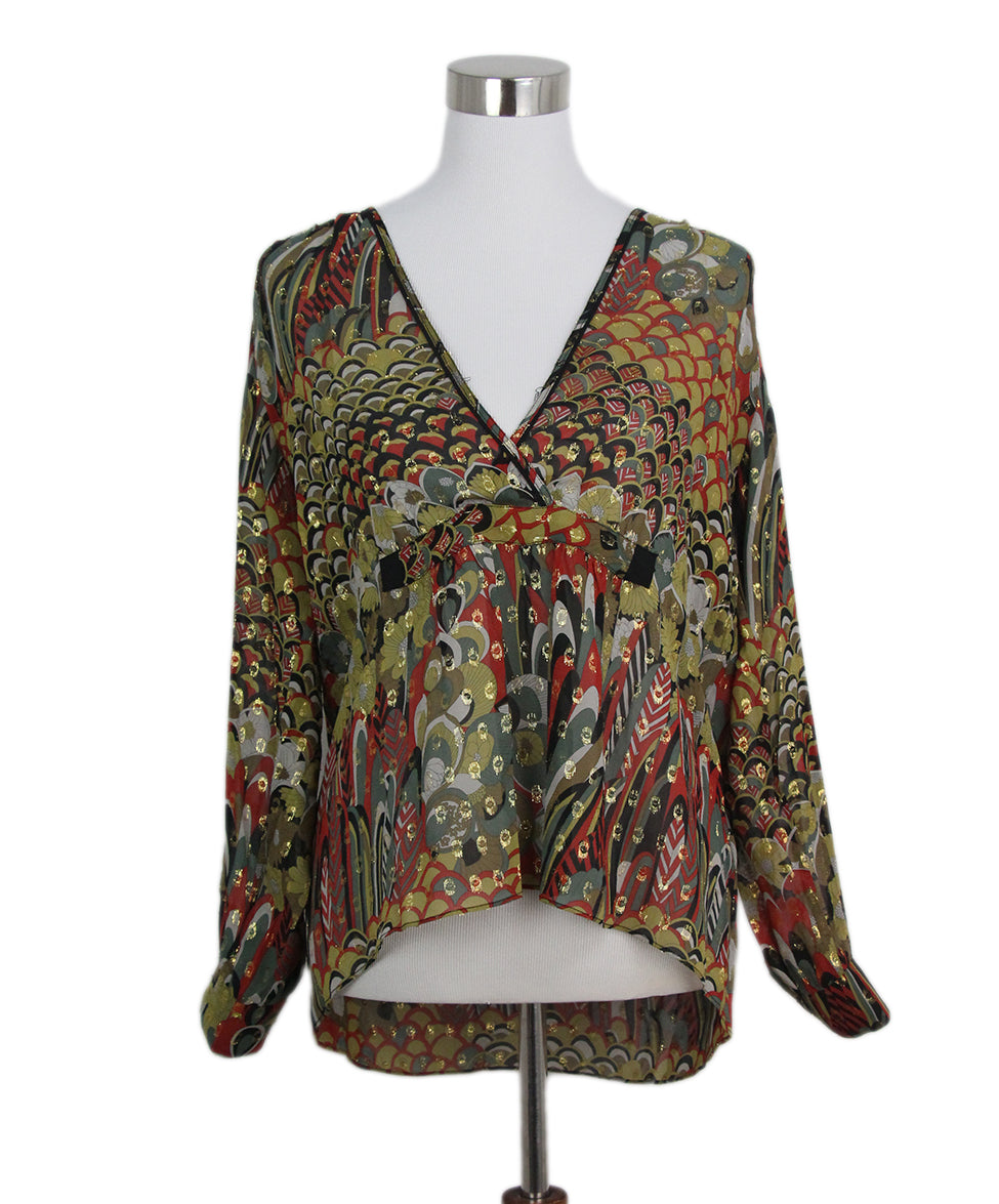 Zadig & Voltaire yellow red black blouse 1