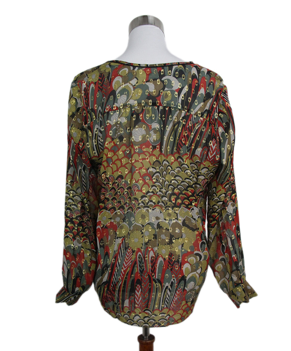 Zadig & Voltaire yellow red black blouse 3