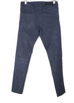 Zadig & Voltaire Size 2 Blue Grey Leather Pants