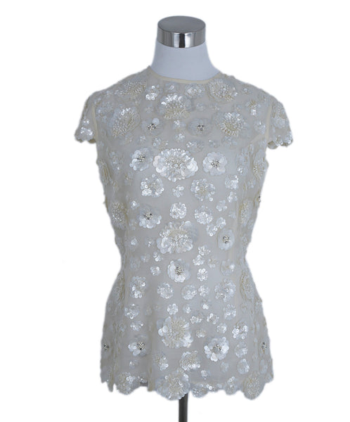 Zang Toi Ivory Silk Sequins Beaded Top 1
