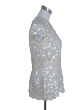 Zang Toi Ivory Silk Sequins Beaded Top 2