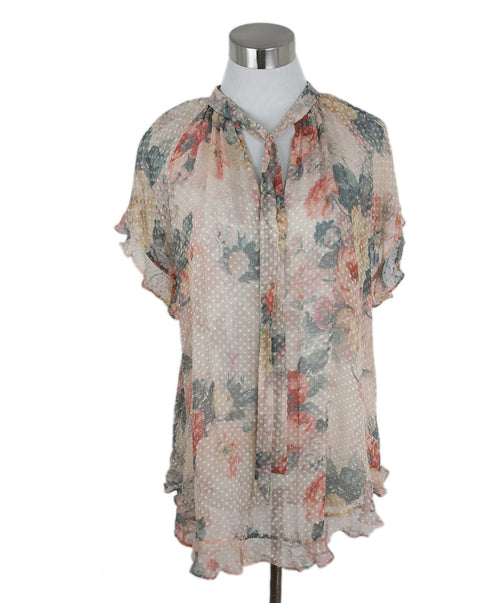Zimmerman Peach Grey Floral Viscose Top 1