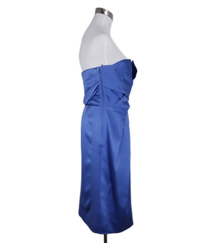 Alberta Ferretti Blue Royal Silk Strapless Dress 1