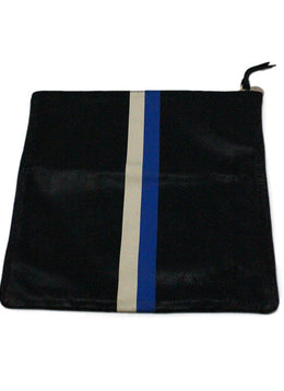 Clutch Black Blue White Leather Handbag