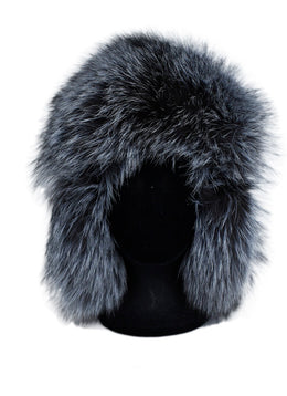Black Leather Grey Silver Fox Accessories Fur Hat 1