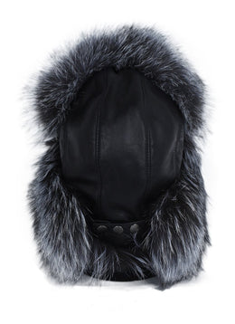 Black Leather Grey Silver Fox Accessories Fur Hat 2