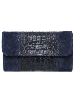 Navy Pressed Leather Suede Clutch 1