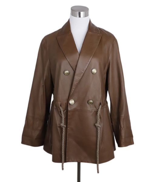 Brunello Cucinelli Brown Leather Rope Belt Jacket 1