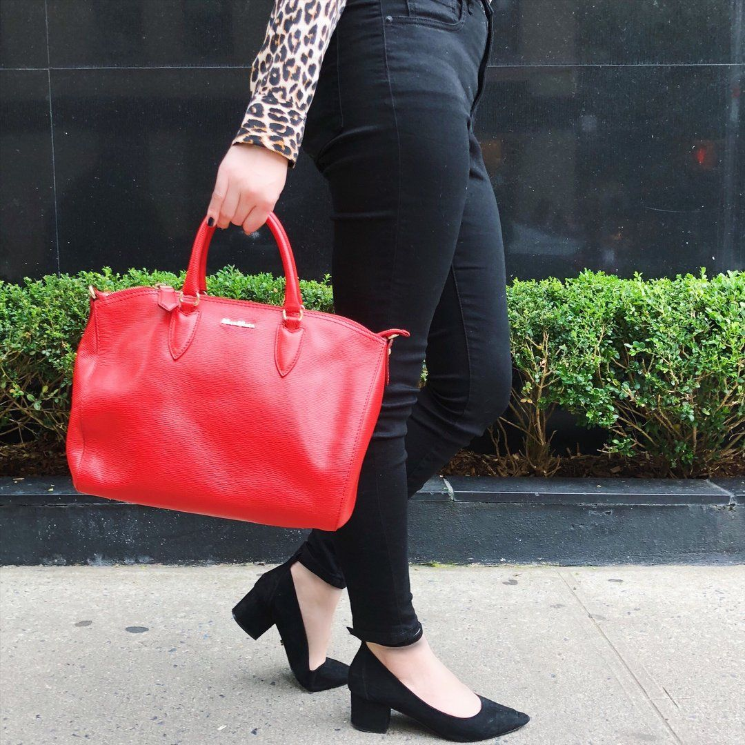 Max Mara Red Painted Canvas Satchel