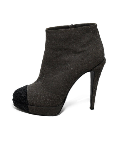 Chanel Grey Black Suede Glitter Booties 1