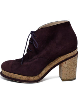 Chanel Burgundy Suede Booties 2