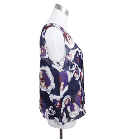 Chanel Purple Burgundy White Silk Sleeveless Blouse 1