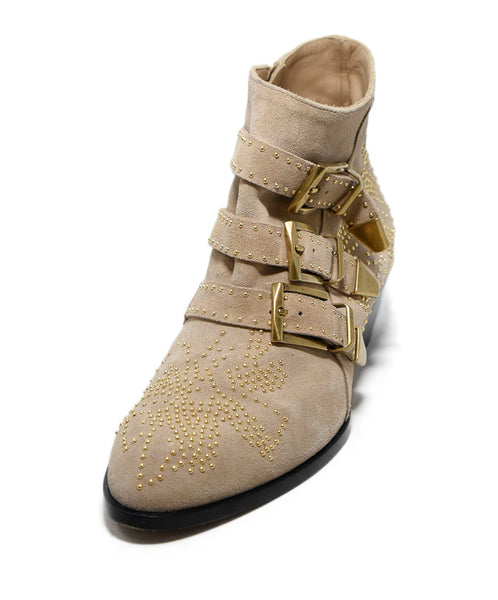Chloe Beige Suede Gold Studded Booties 1