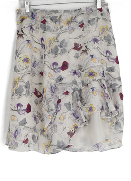 Chloe White Grey Lilac Print Silk Skirt 1
