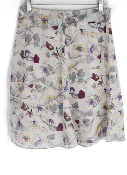 Chloe White Grey Lilac Print Silk Skirt 2