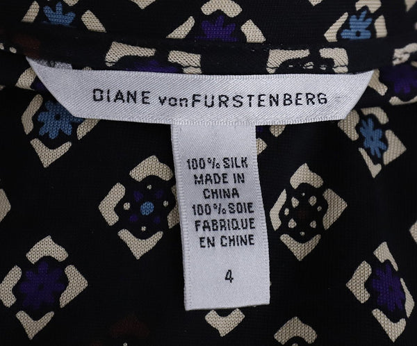Diane Von Furstenburg Black White Purple Silk Wrap Dress 4