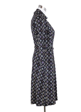Diane Von Furstenburg Black White Purple Silk Wrap Dress 2