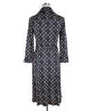 Diane Von Furstenburg Black White Purple Silk Wrap Dress 3