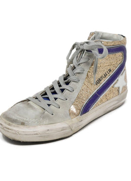Sneakers Golden Goose Shoe Grey Gold Leather Glitter Shoes