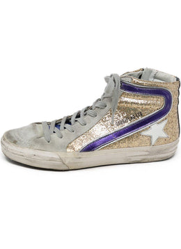 Sneakers Golden Goose Shoe Grey Gold Leather Glitter Shoes 1