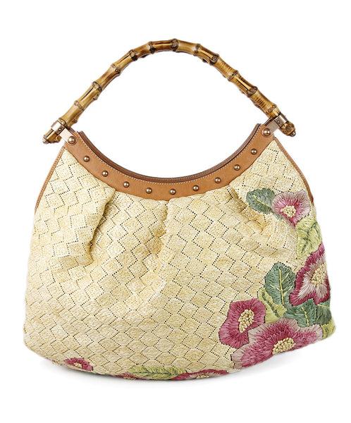 Gucci Yellow Raffia Embroidery Handbag