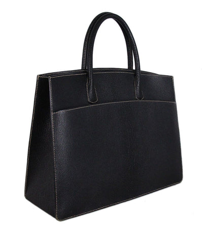 hermes Black Leather White Stitching Tote 1