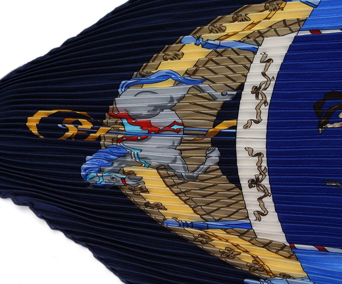 hermes Navy Blue pleated gold silk scarf 5
