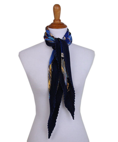 hermes Navy Blue pleated gold silk scarf 1