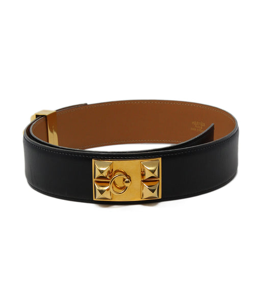 hermes black leather collier de chien belt 1