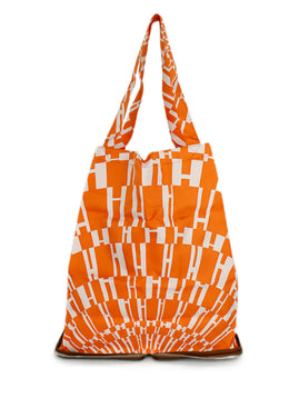 Tote Zipper Hermes Brown Leather Orange White Silk Handbag 1