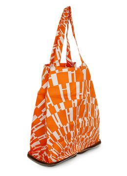 Tote Zipper Hermes Brown Leather Orange White Silk Handbag 2