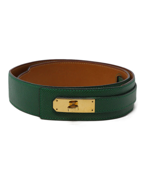 hermes green leather vintage kelly buckle belt 1