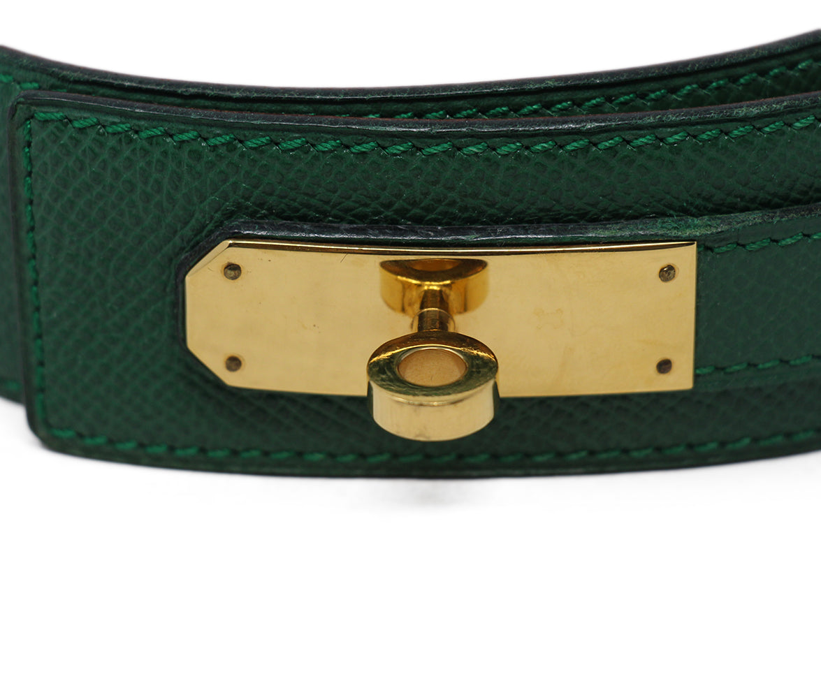 hermes green leather vintage kelly buckle belt 3