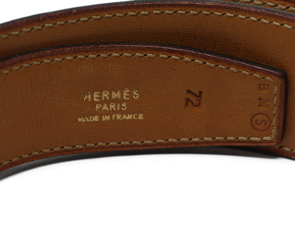 hermes green leather vintage kelly buckle belt 4