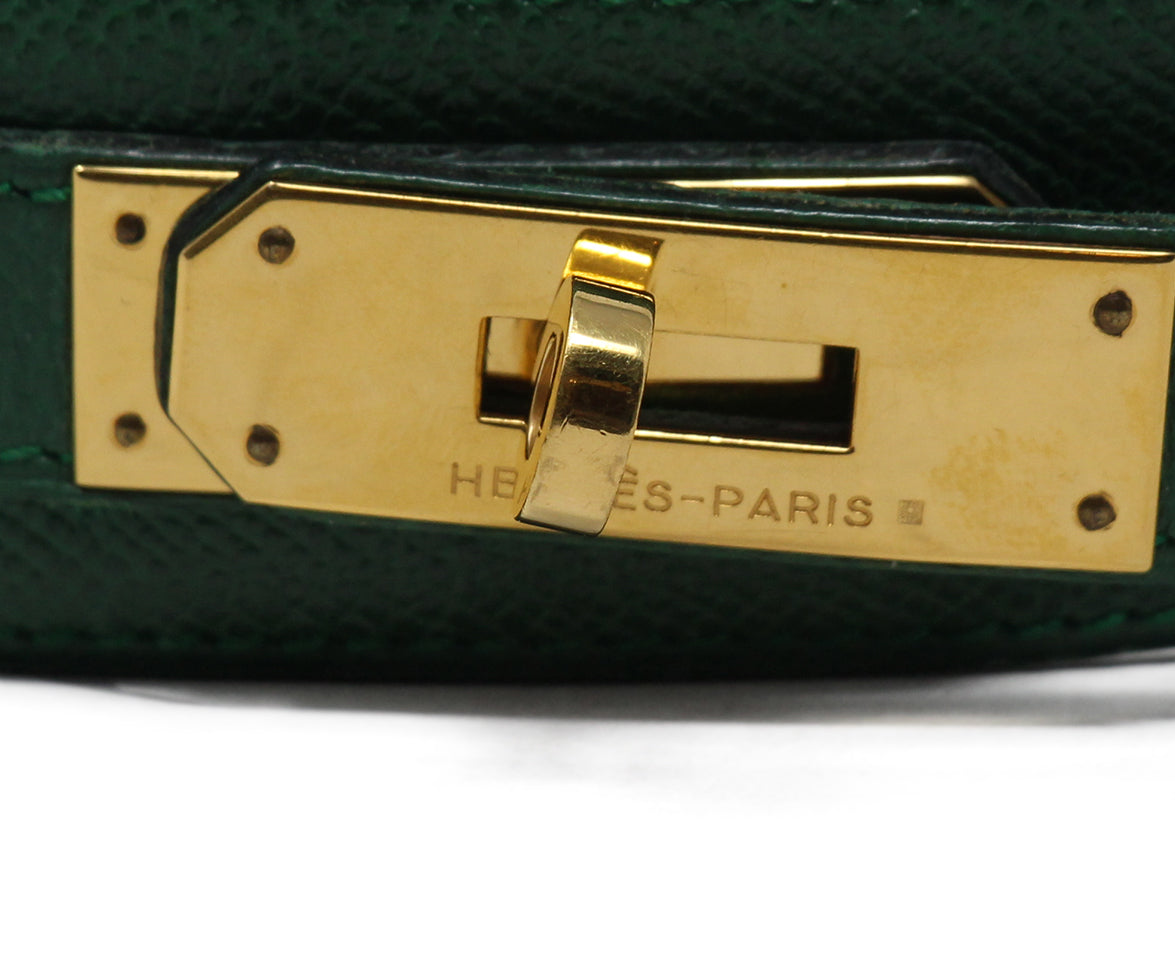 hermes green leather vintage kelly buckle belt 5