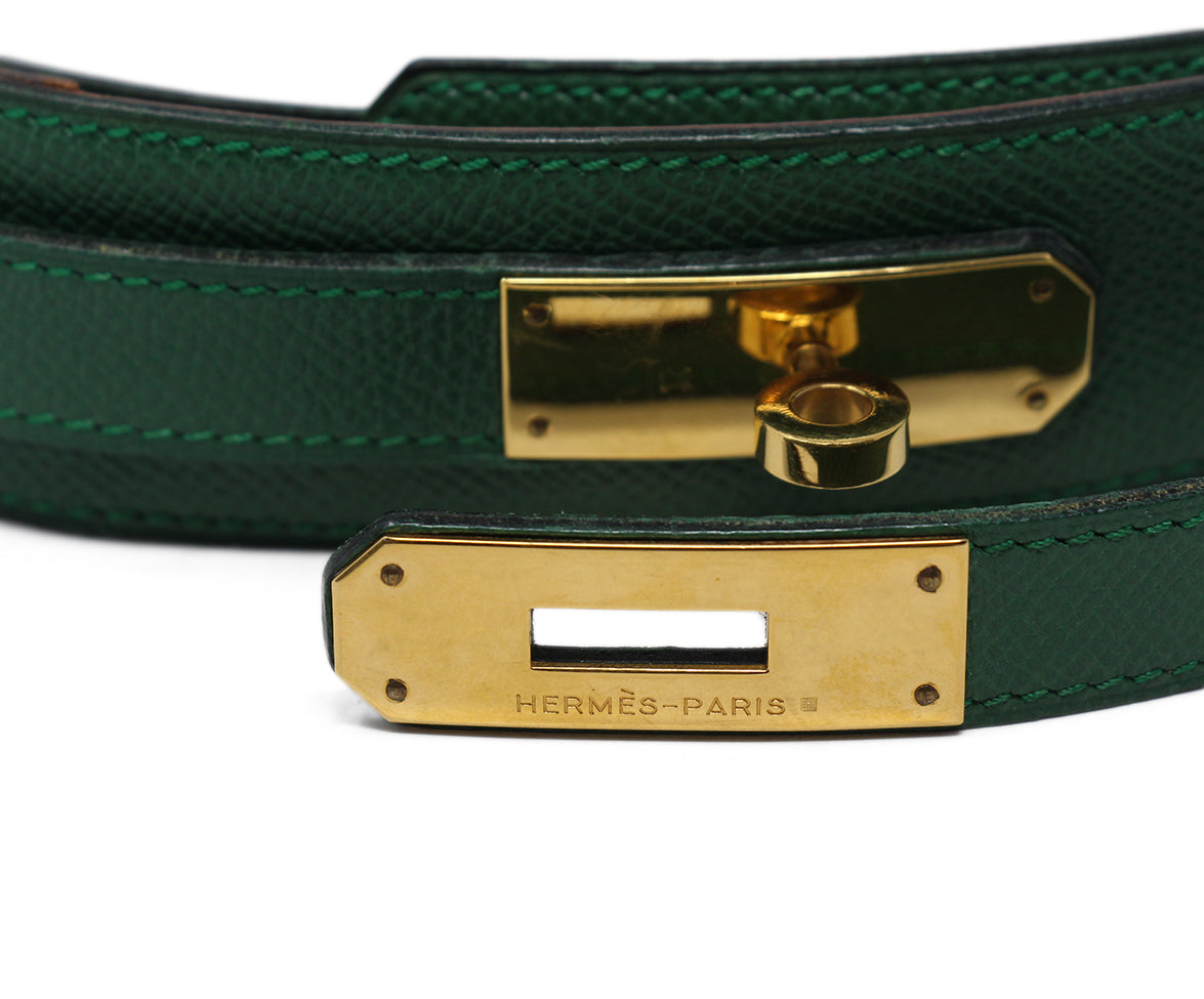 hermes green leather vintage kelly buckle belt 6