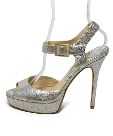 Jimmy Choo Metallic Silver Gold Leather Shoes 1